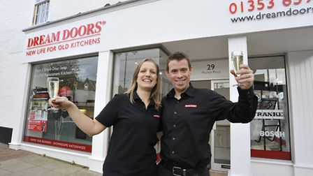 The opening of Dream Doors, Ely, owners (l-r) Louise and Gareth Kavanagh-Dixon,