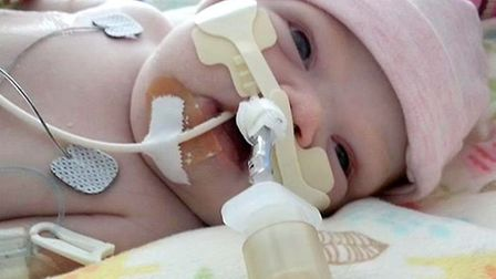 Maisy Collen in hospital while she battled for her life.