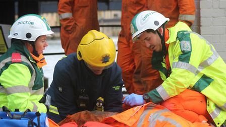 Emergency crews take part in simulated scaffold collapse. Picture: CAMBRIDGESHIRE FIRE AND RESCUE.