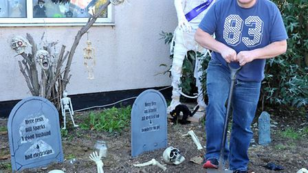 Halloween Spooktacular. Wisbech Rd March.Tommy Kelly in his garden of bones.Picture: Steve Williams.