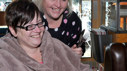 giraffe Wisbech. Marks The Clocks Going Back with Dressing Gown Day! Mums Sara Gibson and Maddy Aust