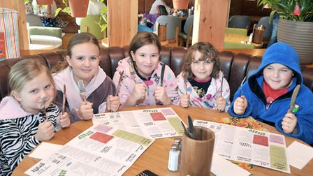 giraffe Wisbech. Marks The Clocks Going Back with Dressing Gown Day. Waiting for their breakfast. Le