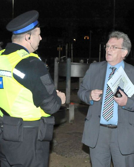 Lead PCSO Steve Staniforth talking to Wisbech Standard Editor John Elworthy about the Waterlees disp