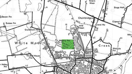 Map showing site of March Landfill in Hundred Road
