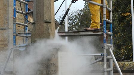 Chatteris war memorial was cleaned in the run-up to Remembrance commemorations. Picture: ROB MORRIS