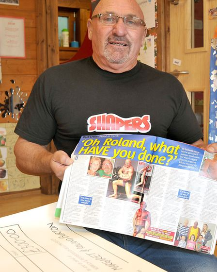 Roland Burton Hands over a cheque to Murrow Preschool, with proceeds from a magazine article. Pictur