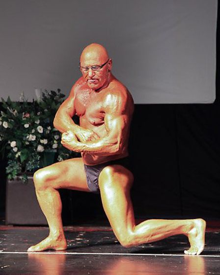 Roland Burton competing at the Anglian Bodybuilding Championships.