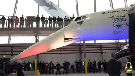 The Concorde droop mechanism is demonstrated to an appreciative audience. Copyright IWM.