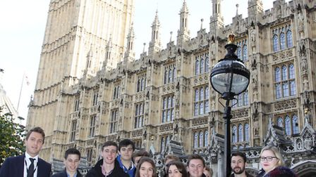 The photo shows group members of Wisbech Grammar School in the shadow of Big Ben. Photo by Tim Chapm