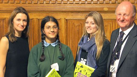 Sir Jim judges school debating competition in Parliament. Left: Lucy Frazer, Thea Fennel from Imping