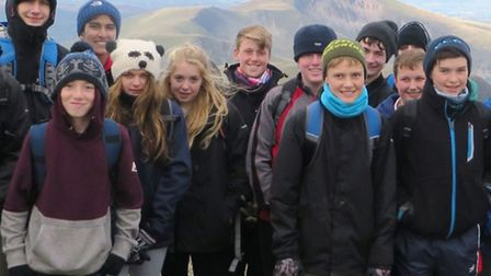 Students reach the top of Mount Snowdon.