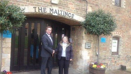 James Palmer and Elaine Griffin-Singh outside The Maltings, in Ely,