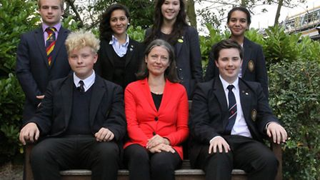 Dr Patricia Plummer (centre, front) with Wisbech Grammar School students