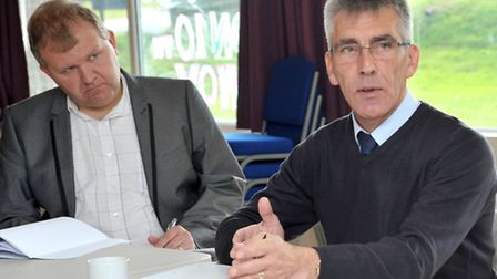 Thorney Toll meeting for a 50mph speed limit - Roger Chenery (left) addresses the meeting with Carl