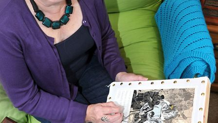 Artist Janet Payne with the part of the new Magna Carta she is embroidering.