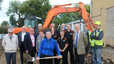 George Campbell work starts Councillor Michelle Tanfield with New Vision Fitness staff (from left)