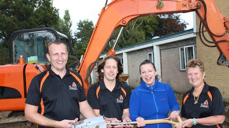 Councillor Michelle Tanfield with New Vision Fitness staff (from left) Nathan Wainwright, James Amp