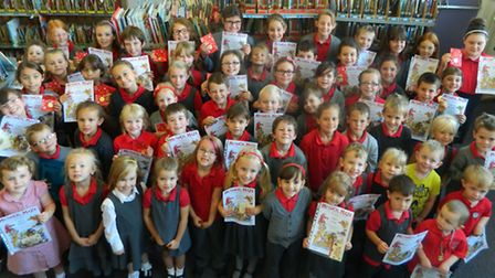 The children that took part in the summer reading challenger - 49 burrowmoor children finished the c