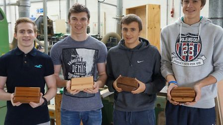 CRC's winning construction students, from left to right: Sam Brown, Liam Adams-Stock, Alex Theobald