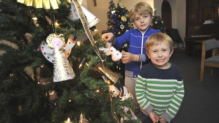 Ely Methodist Church Christmas Tree Festival, (l-r) William, and Louis, from Ely.