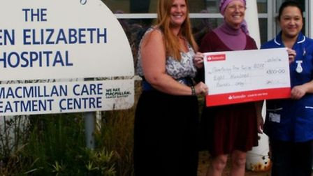 Sarah Barnes and Helen Gray present the cheque to Queen Elizabeth's Hospital.