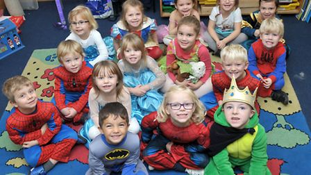 Superheroes fancy dress day for Children in Need at Thomas Eaton Primary School, Wimblington. Pictur