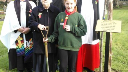 Pictured (l-r) – The Rev. Allan Landall (Rector of Walsoken All Saints Church), Mrs Dawn Atkins (rep