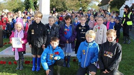 Primary school children in Great Easton made their own Tower of London poppy memorial display.