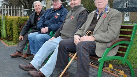 Unveiling of benches and refurbished Coates War Memorial. The Working Team. Left: Ron Barratt, Barry