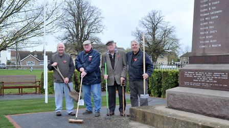 Unveiling of benches and refurbished Coates War Memorial. The working team, Left: Colin Dale, Barry