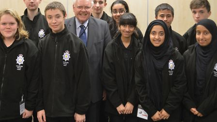 Sir Graham Bright with the Volunteer Police Cadets.