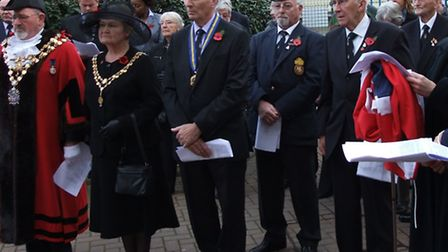 Members of local Royal British Legion groups and the Mayor of Wisbech, Councillor Michael Hill, pay