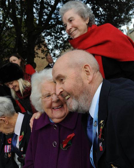 Ernie Barlow with Mrs Richards at 75 NZ Squadron plinth Mepal.Picture: Rob Morris.