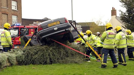 Woman rescued after car went out of control in Church Terrace, Wisbech