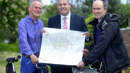 Steve Barclay MP (middle) meeting with representatives from Sustrans to discuss a cycleway.