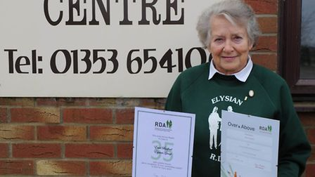 Enid Bedford with her awards at Sedgeway Equestrian Centre