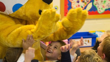A giant-sized Pudsey Bear has been mingling with pupils at Magdalene House Preparatory School