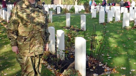 Wisbech Army Cadet Cpl Foxcroft from Wisbech finds family members WW1 Grave in Belgium