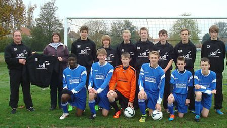 March Saracens under-16s wearing their new kit sponsored by Ridgeons Timber & Builders Merchants and