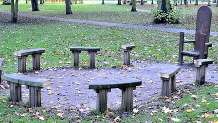 Wisbech Park, Vandalised Story telling bench. Picture: Steve Williams.