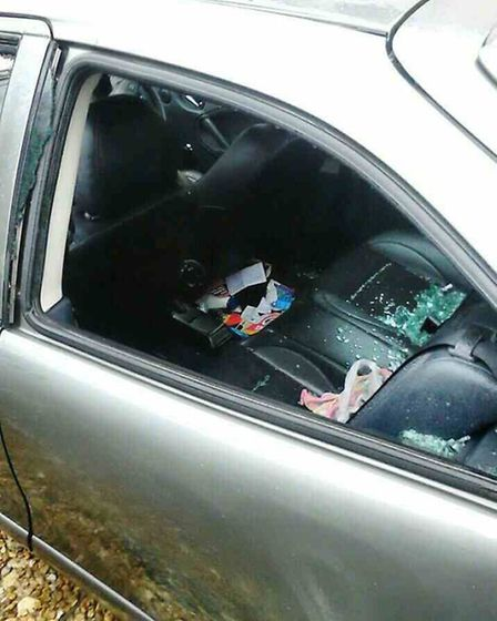 The smashed car window at West Park Street, Chatteris