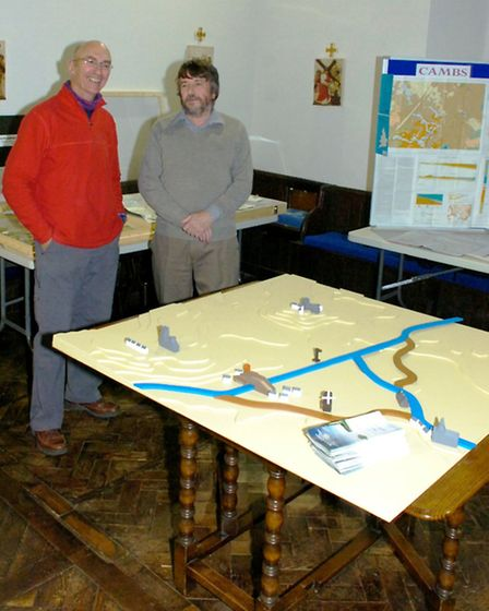 Geologists Roger Mould, left, and Ken Rolfe at St Peter's Church
