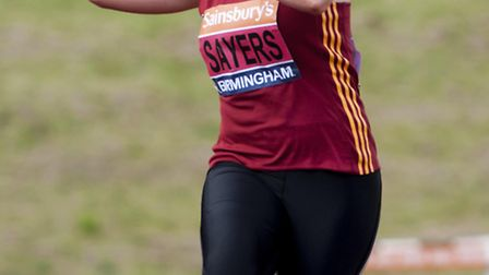 Goldie Sayers in action on June 29, 2014, at the British Athletics Championships held at Alexander S