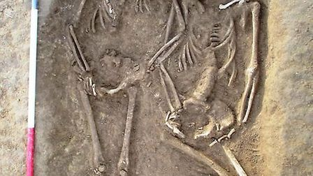 One of the graves saw two skeletons buried together.