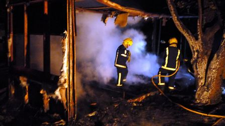 A container was destroyed in the blaze.