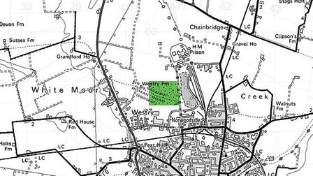Map showing site of March Landfill in Hundred Road where two turbines were planned