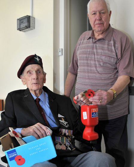 93 year old Arnhem veteran Bill Fordham resident of Upwell Park is selling poppies again. Picture: S