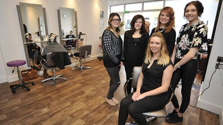 New Ely hairdressers (front) Eve Youngman, with staff (l-r) Charlotte Davis, Hannah Smith, Claire Fa