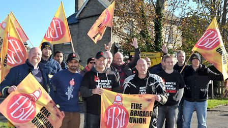 Firefighters Picketing outside March fire station. Picture: Steve Williams.