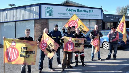 Firefighters protesting outside of Steve Barclay's office. Picture: Steve Williams.